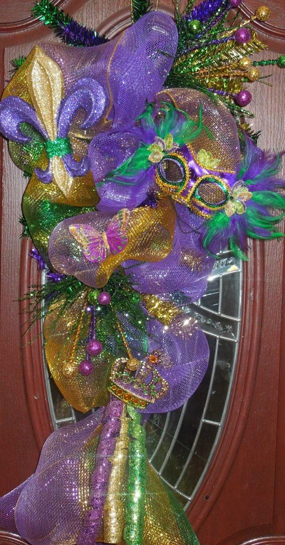 Mardi Gras poly deco mesh teardrop swag/wreath