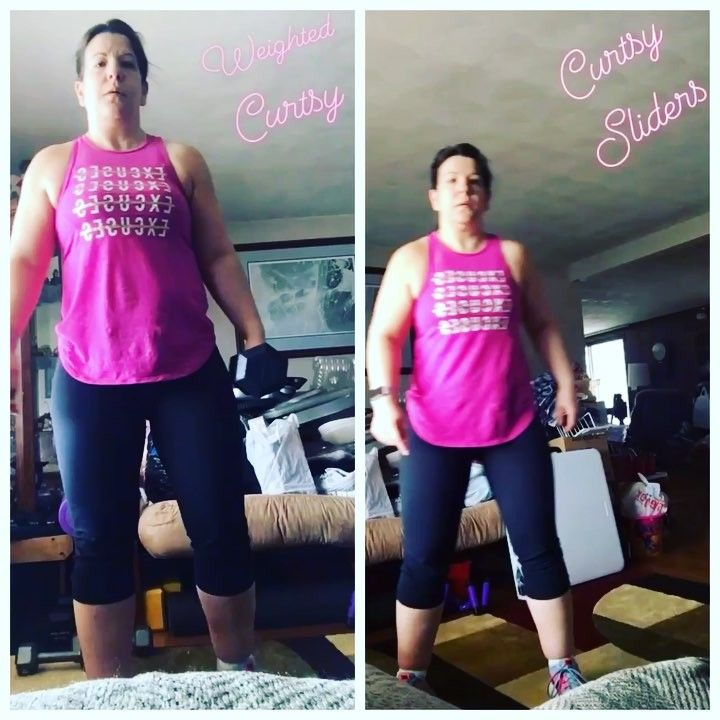 Weighted Curtsy & Curtsy Sliders!!! All the muscle fatigue today! Plus bonus rounds!  I  Leg Day!!!!!!. . . . . . #teamempoweryoursoul #iamenough #teamac @autumncalabrese #joy #loveyourself #health #smile #weights #adventure #travel #dogs #fitchick #goals #obsessed #workout #livelife #patience #effort #time #icandohardthings #marathontraining #hike #patience #hoodies #journey #coffee #goalsetter
