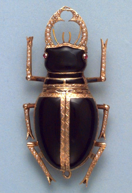 late 18th Cent. Swiss verge gold and enamel pearl set watch in the form of a stag beetle.