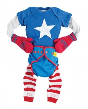 diy infant costume. captain america! with cloth diaper and baby legs. <3