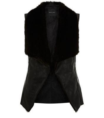 Black Faux Fur Collar Waterfall Gilet