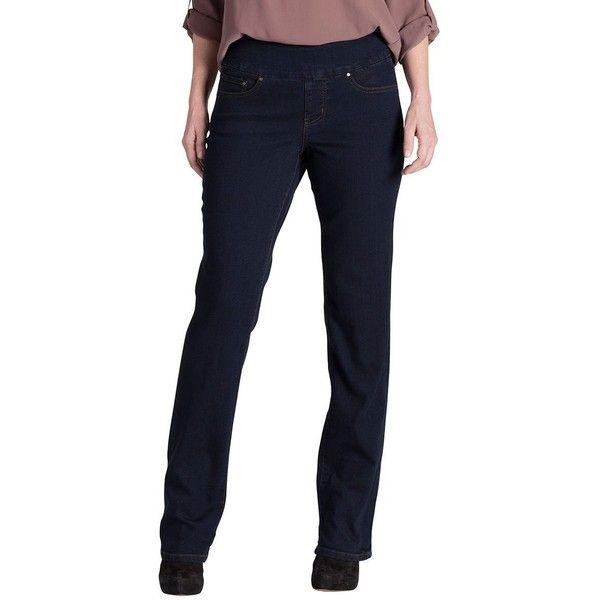 Jag Jeans Women's Petite Paley Pull On Bootcut Jean in Comfort Denim ($74) ❤ liked on Polyvore featuring jeans, petite, boot cut jeans, petite jeans, petite pull on jeans, blue jeans and wide waistband jeans