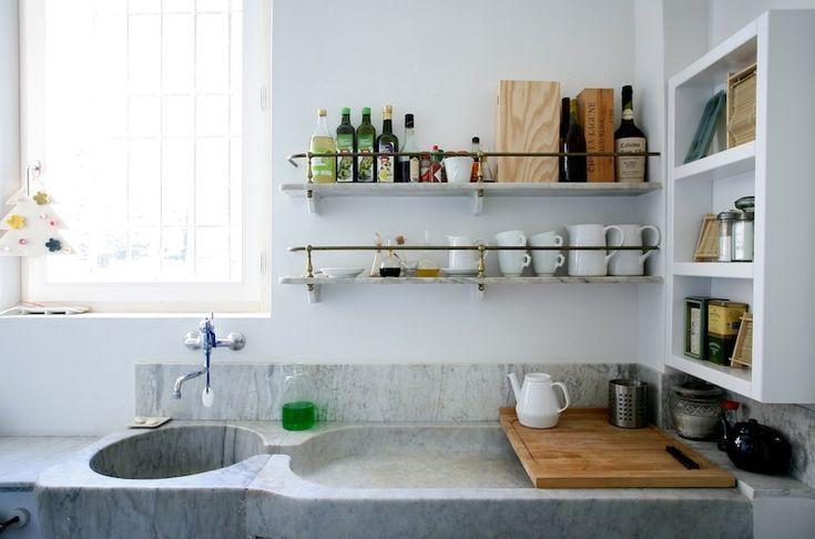 sinkDecor, Ideas, Kitchens Shelves, Open Shelves, Marbles Sinks, Wall Shelves, House, Organic Kitchens, Kitchens Sinks