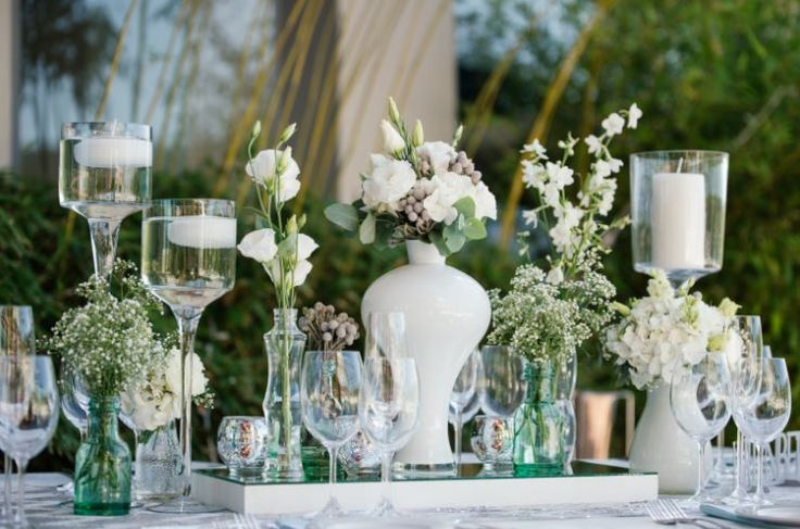 White and mint wedding table decor done by Jade Customised Events  ~ Image Property of Darren Bester Photography