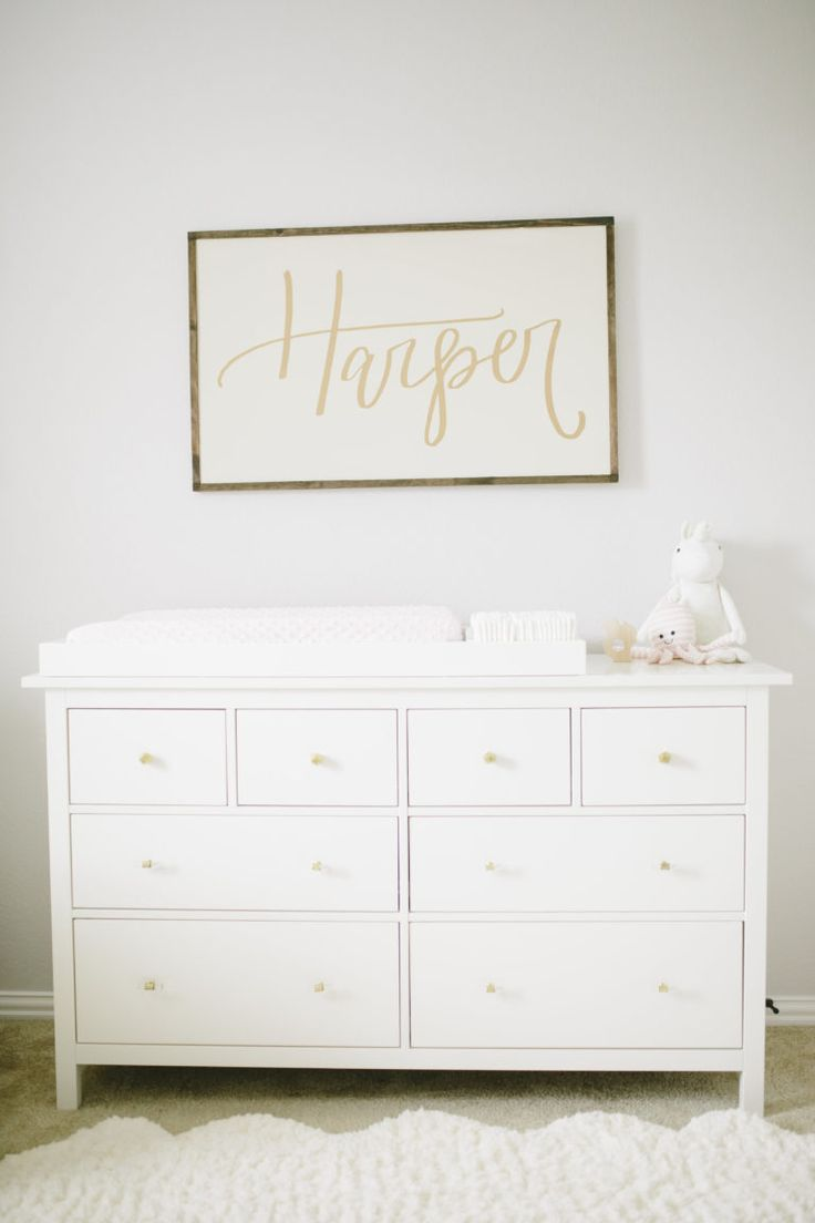 Upcycled IKEA Dresser and a Hand-lettered Name Sign from SixElevenCo in a Baby Girl Nursery