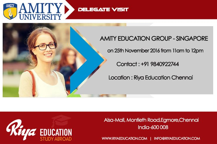 Amity Delegate Visit at Riya Education Chennai. Come and meet the delegate to get first hand information. Visit our website.#singapore