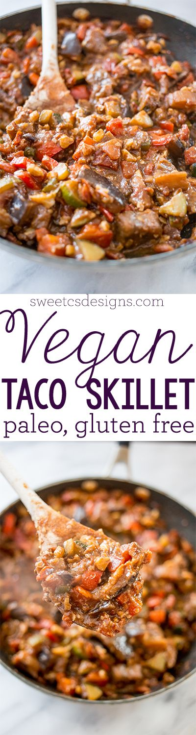 """Paleo Vegan """"Meaty"""" Taco Skillet - Yum!  I used a whole taco seasoning packet, since 2 Tbsp used almost all of it.  And had to leave out my walnuts because they smelled stale, but it actually needed it for add'l texture.  And I used a whole can of Rotel (10 oz) since my eggplant was huge!  Yum, tho!!  :)"""