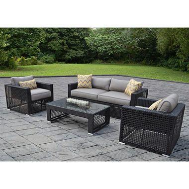 Outdoor Patio Furniture Soho 4 Pc Deep Seating Set With Premium Sunbrella  Fabric