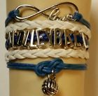 VOLLEYBALL-WHITE/BLUE LEATHER CHARM BRACELET SILVER ADJUSTABLE-SPORTS #148