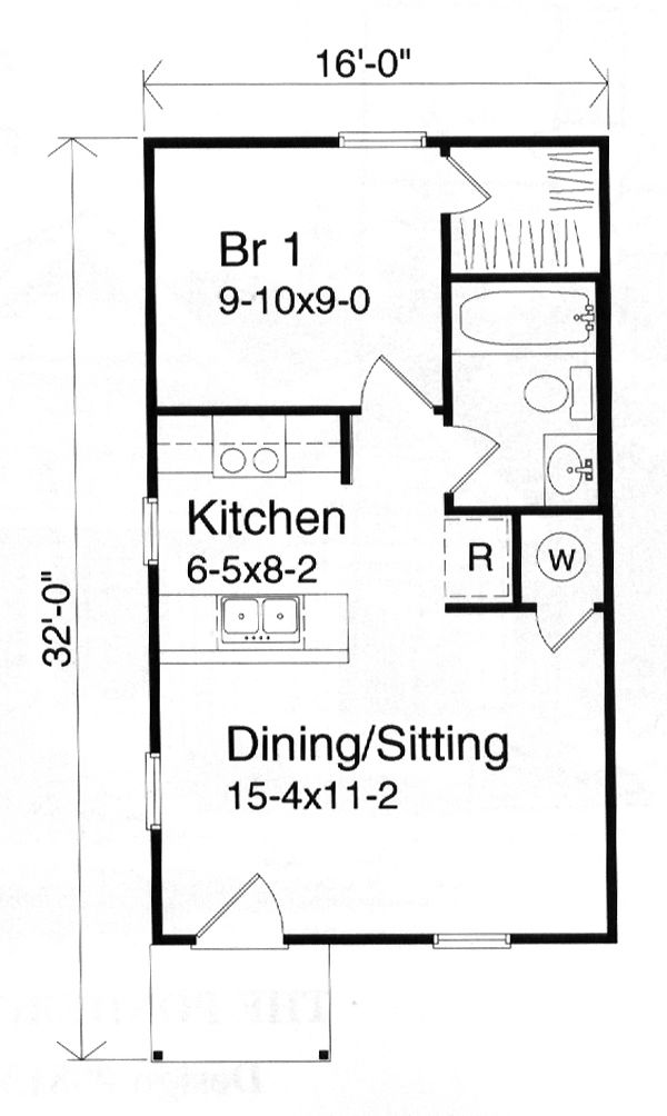 House Plan Number 49132 with 1 Bed, 1 Bath