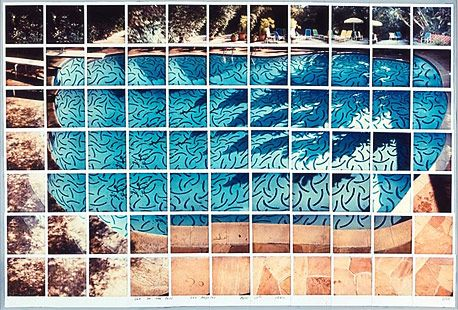 Composite Polaroid image of Hockney's famous pool; an innovative way of illustrating with photographs.