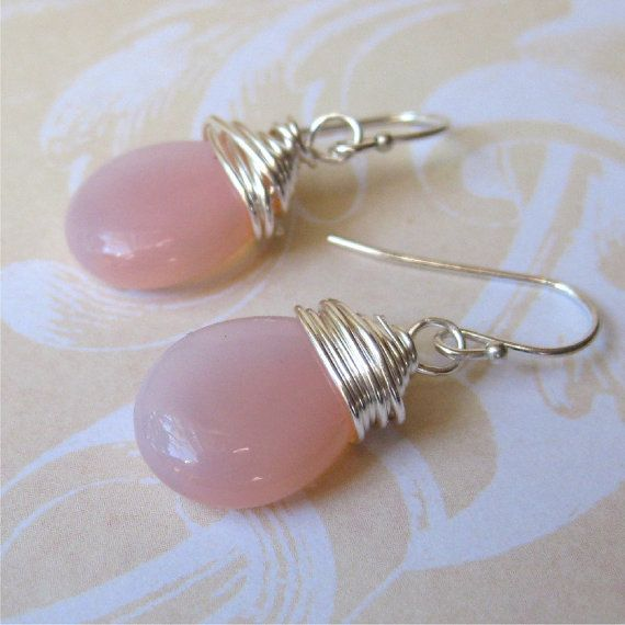 Pink czech glass tear drop earrings  pale milky by planettreasures