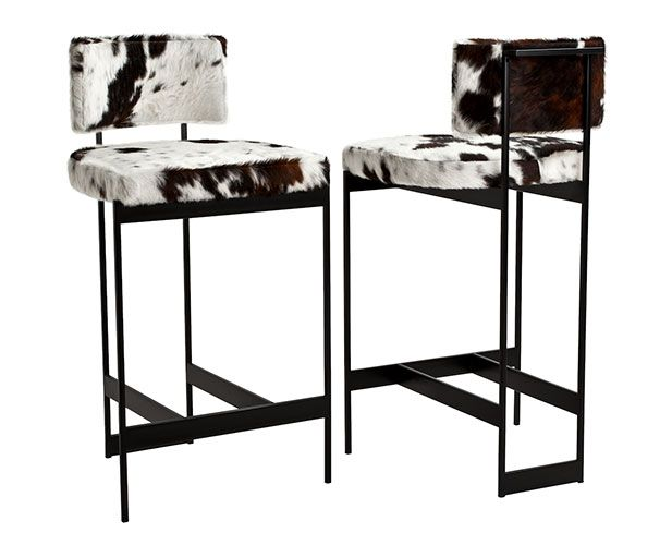 Contralto Stool Lightweight Plated Steel Stool In Cowhide