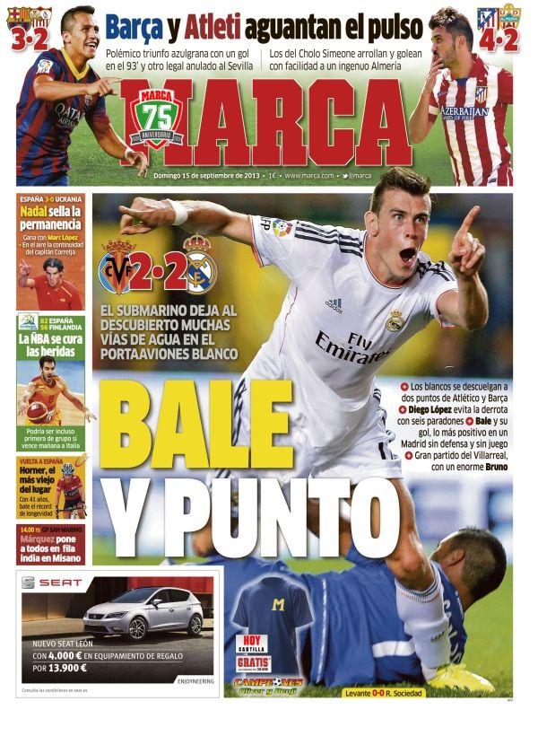 'Bale y punto ' | La portada del 15 de septiembre de 2013