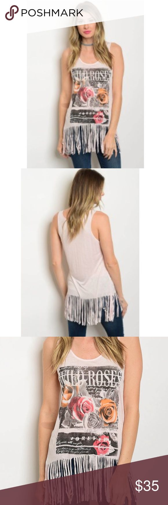 Wild roses 🌹 pink graphic fringe tank top. S-M-L Adorable fringe wild roses 🌹 fringe tank top in light pink. 65 cotton, 35 poly. Sizes S-M-L Tops Tank Tops