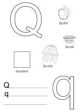 lernvorlage für den buchstaben q mit bildern   lernen, ausmalen für kinder, buchstaben