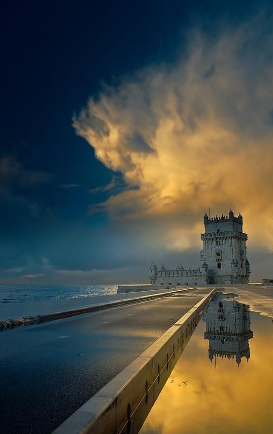 Torre de Belem, Lisboa.  Belém Tower or the Tower of St Vincent is a fortified tower located in the civil parish of Santa Maria de Belém in the municipality of Lisbon, Portugal.