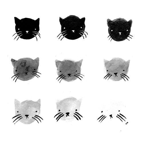 oliviamew: kitty greyscale. prints here.