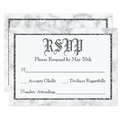 Marble Silver Framed Wedding RSVP Reply Card - wedding invitations diy cyo special idea personalize card