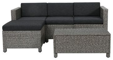 Lorita Outdoor 5-Piece Gray Wicker Sectional Sofa Set With Black Cushions tropical-outdoor-sofas