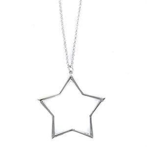 Colgante de plata con cadena rolo muy fino estrella de hilo de 33 mm