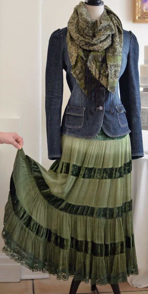 One of my favorite combos... a lovely tiered peasant skirt, a worn denim jacket and a pretty draped scarf!