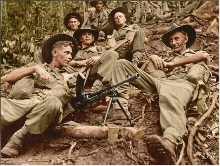 Australian soldiers from the 2/1st Infantry Battalion, 6th Division on the Kokoda Trail, New Guinea. October - November 1942.