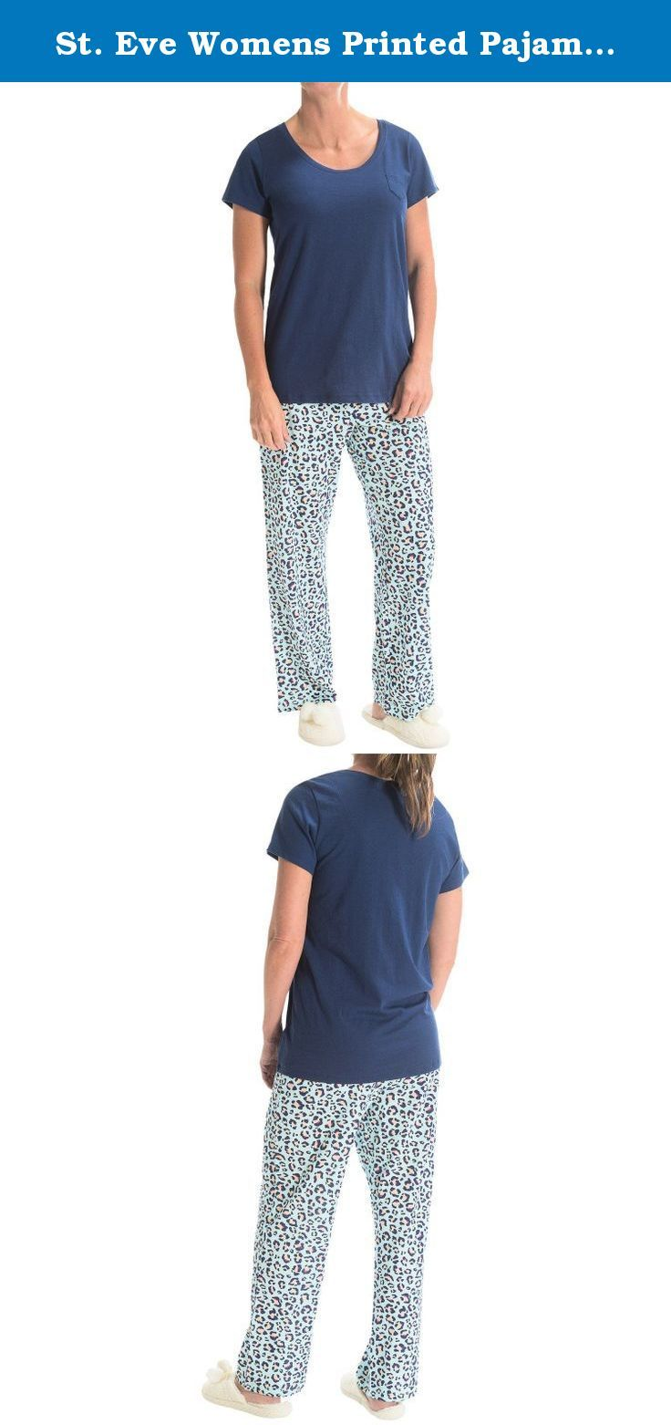 St. Eve Womens Printed Pajamas - Short Sleeve - Blue Cheetah Design (Medium). Bedtime is more fun when you wear St. Eve's Printed pajamas. The breathable soft cotton blend caresses your skin, and the natural stretch lets you find your most comfortable sleeping pose.