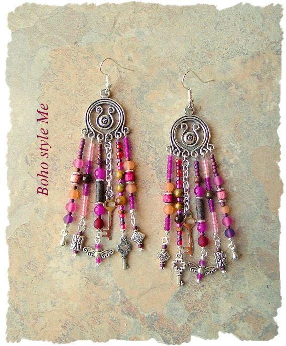 Boho Gypsy Style Earrings Fairytale Assemblage by BohoStyleMe
