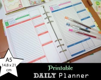 Daily Planner | Printable | ToDo List | 2 Colors 1 Page | 7 Days Different Colors | Simple Design | Size A5 14.8x21cm | PDF INSTANT DOWNLOAD
