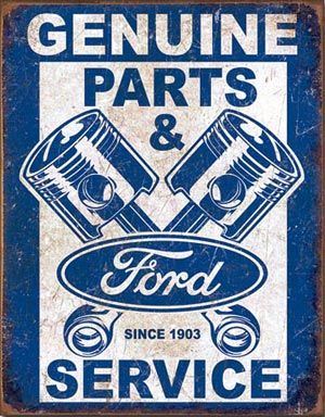 Classic/vintage ford Parts and Service logo which can still be seen in modern logo's of today. The use of the pistons and rods are as instantly recognizable today as they were years ago. https://www.mojomarketplace.com/watermarks/564a238c-3574-40bf-bf78-26aa0a141f38