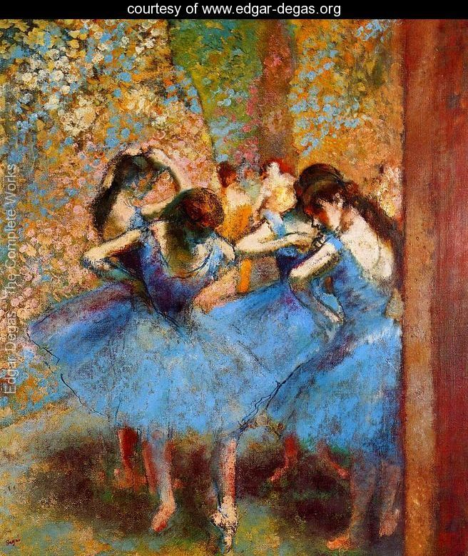 Dancers in blue, 1890 Painted by:	Edgar Degas Location:	Musée D'Orsay, Paris, France