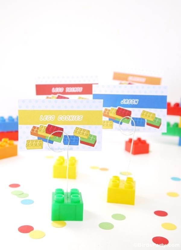 Lego birthday party idea DIY Bricks Place-card Holders [more at pinterest.com/eventsbygab]