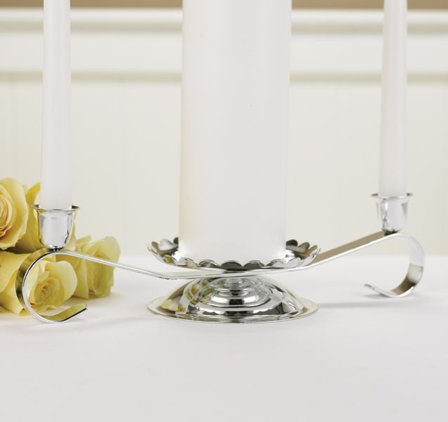 "Silver-tone candle stand with scroll design, scalloped edges and clear lacquer coating. 12"" wide. 3"" tall.  Candles not included"
