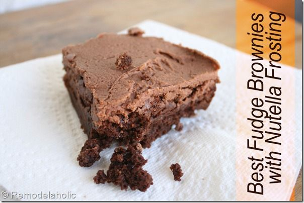 homemade fudge brownies w/ nutella frosting remodelaholic.com #brownies #nutella #recipe