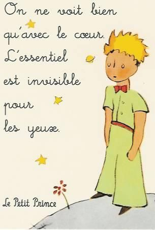 """It is only with the heart that one can see rightly; what is essential is invisible to the eye.""  Le petit prince, Antoine de St Exupery"