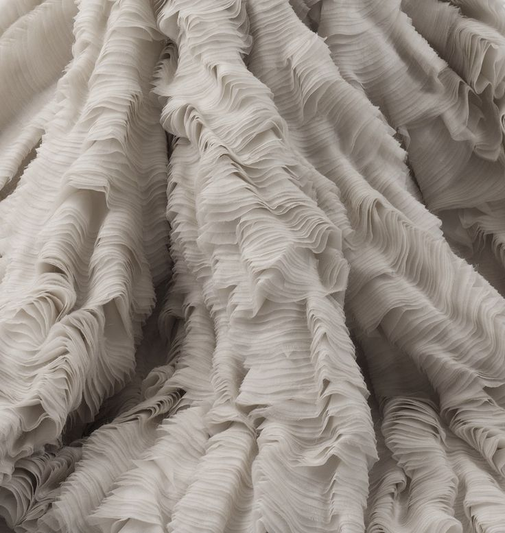 Fabric Manipulation - dress close up with delicate layers of finely rippled fabric resembling organic form; textural surfaces // Alexander McQueen