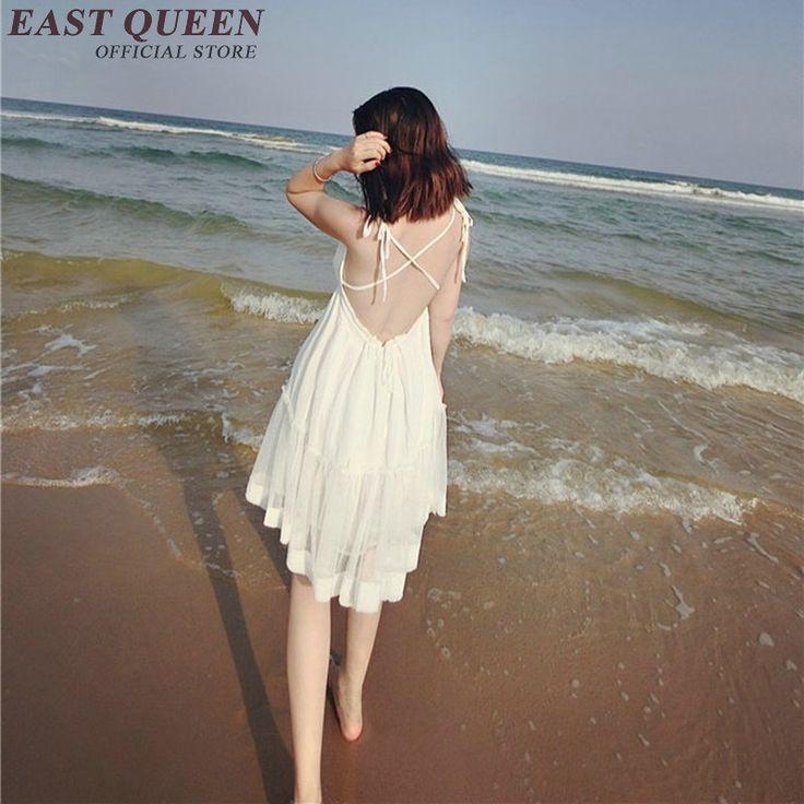 Woman summer beach white lace sundress female halter top sundresses sexy white backless halter top sundresses   KK324