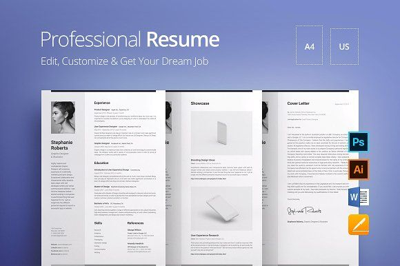 Professional Resume v.1.2 by DEFNST on @creativemarket