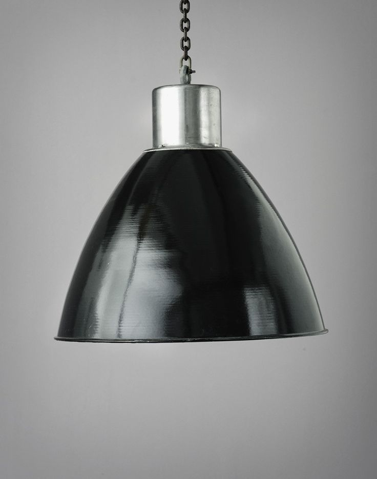 EASTERN BLOCK ENAMELED SHADES These extra large black enameled shades were salvaged from a factory close to the Ukranian (then Soviet) border. // BUSHO STUDIO // VINTAGE INDUSTRIAL LIGHTS