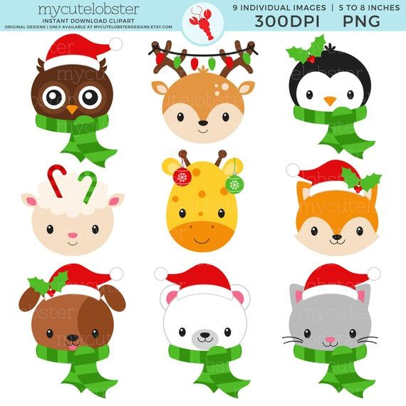 Christmas Animal Faces Clipart Set Owl Deer Penguin Etsy Christmas Animals Clip Art Avengers Coloring Pages