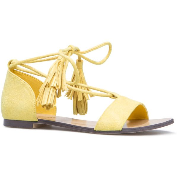ShoeDazzle Flat Sandals Parisa Womens Yellow ❤ liked on Polyvore featuring shoes, sandals, flat sandals, yellow, tassel shoes, yellow flat sandals, tassel sandals, flat footwear and flat shoes
