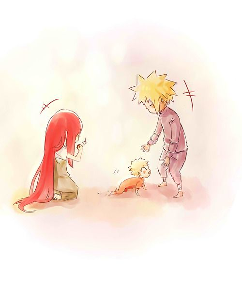 Kushina, Minato, baby Naruto. And there's the tears. Because they never got to see their baby crawl or walk. They never got to hear him call for them....