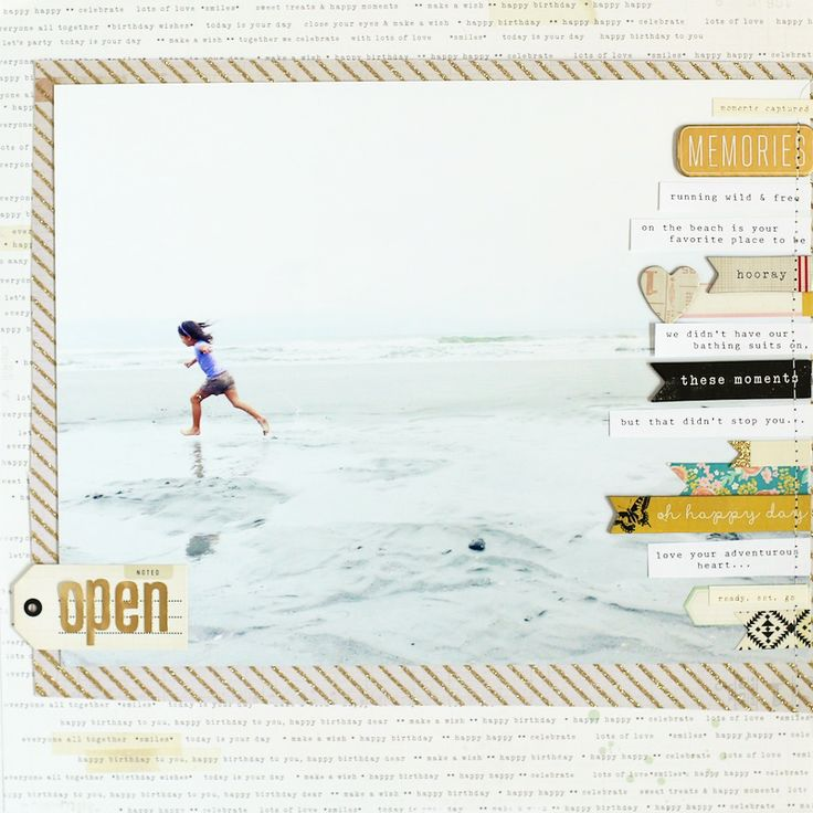 Great layout to include lots of photos and journaling. Love it! This is a good sketch for Cecily's baby book.