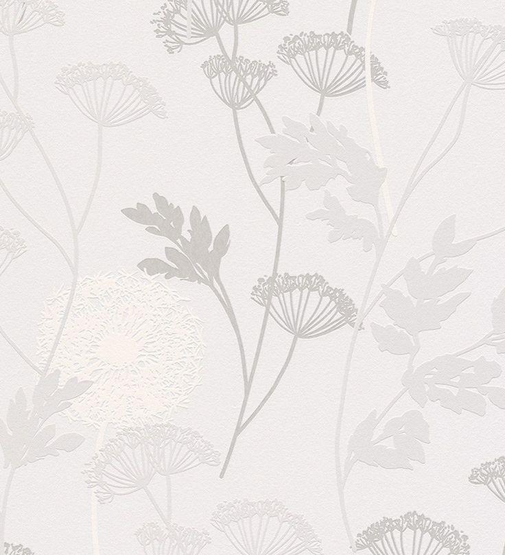 Papel pintado flores dientes de leon grises con hojas - 40518