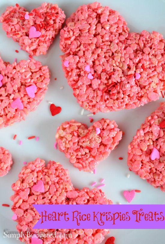 Heart Rice Krispies Treats #valentinesday #heart #snack #easy #recipe