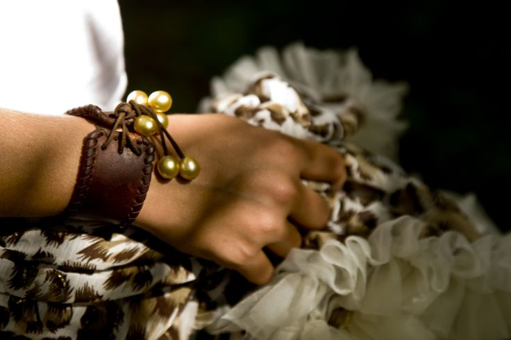 Leather Cuff Bracelet with South Sea Pearls by Designer Jean Noel MIgnot