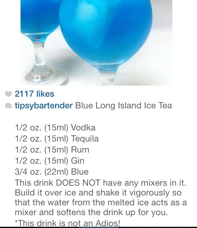 Blue Long Island Ice Tea, wedding punch... add a little grenadine make it purple