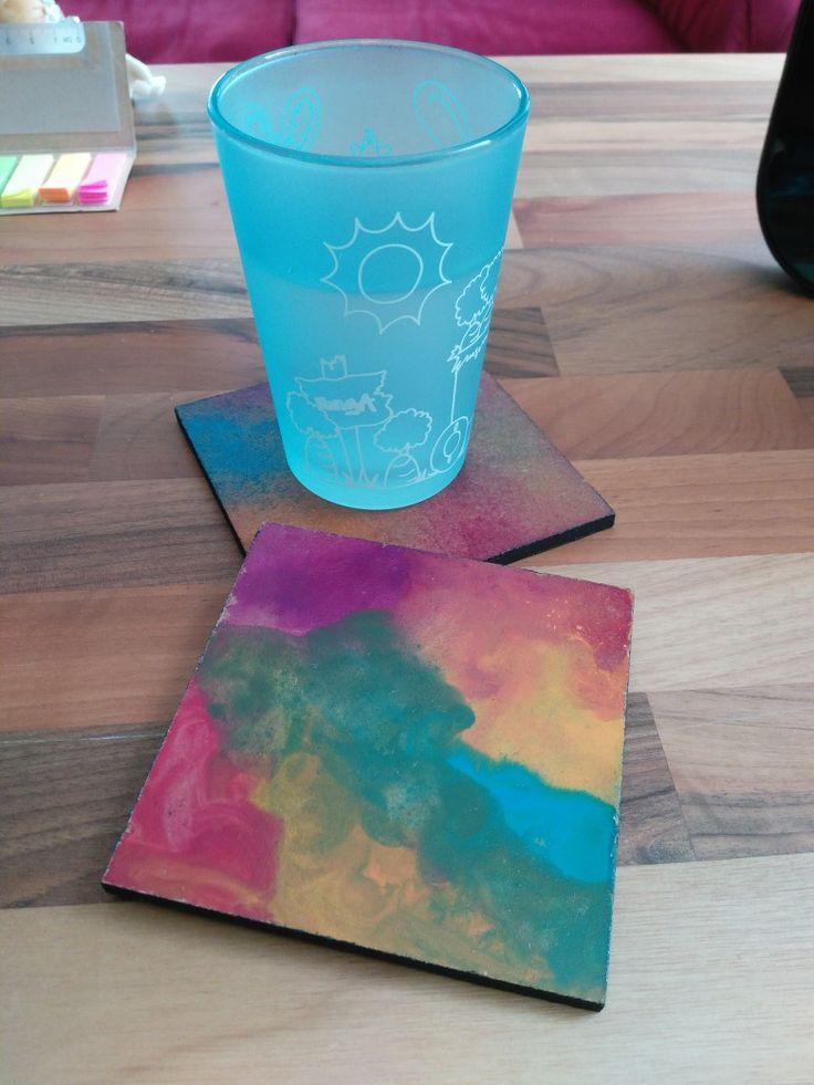 Watercolor (suluboya) ahşap bardak altlığı 🎨
