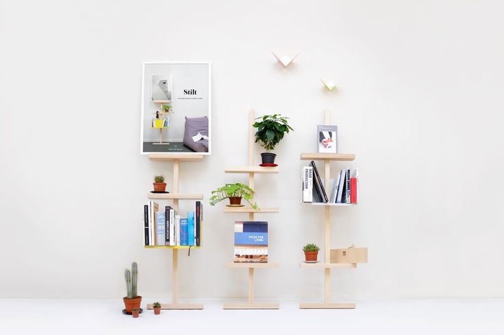 Stilt as a mobile presentation/shelf system. Other family members on this image are the Butterfly coathangers on the wall and some UFO trays under various flowerpots. #stilt #easytomove #movable #shelving #ash #wood #mwa #makerswithagendas #mwadesign #agendadrivendesign #mwagram #nomadicliving #multiuse